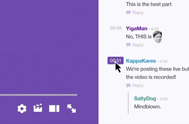 Twitch comments for pre-recorded videos are like a slow chatroom