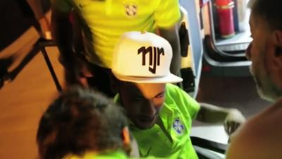 Raw: Neymar Returns to Brazil Training Base