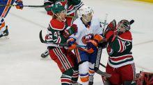 Fans see Varlamov make 28 saves, Isles beat Devils 2-1