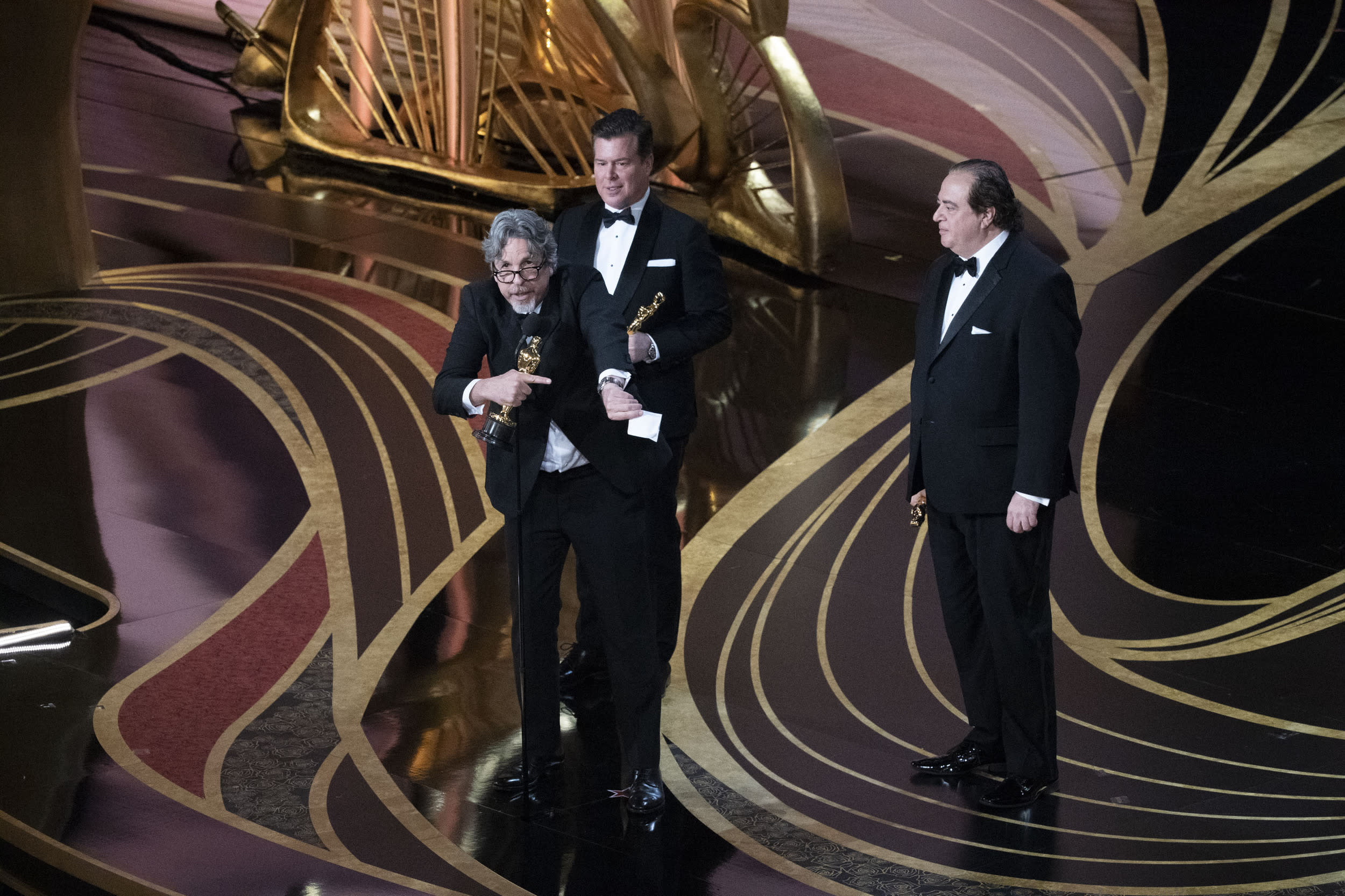 THE OSCARS® - The 91st Oscars® broadcasts live on Sunday, Feb. 24, 2019, at the Dolby Theatre® at Hollywood & Highland Center® in Hollywood and will be televised live on The ABC Television Network at 8:00 p.m. EST/5:00 p.m. PST.  (Ed Herrera via Getty Images) PETER FARRELLY, BRIAN CURRIE, NICK VALLELONGA