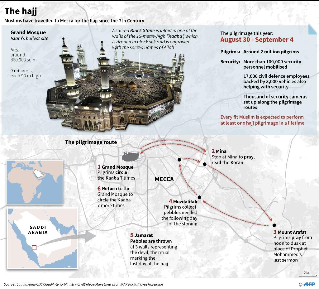 Graphic on the annual hajj which starts Wednesday. (AFP Photo/Gal ROMA)