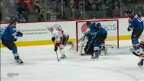 Hudler scores between-the-legs on Giguere