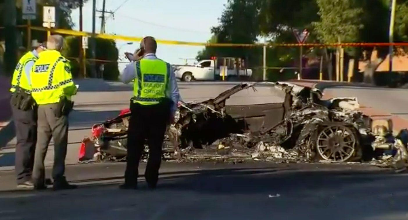 Man charged with manslaughter after woman dies in fiery Ferrari crash