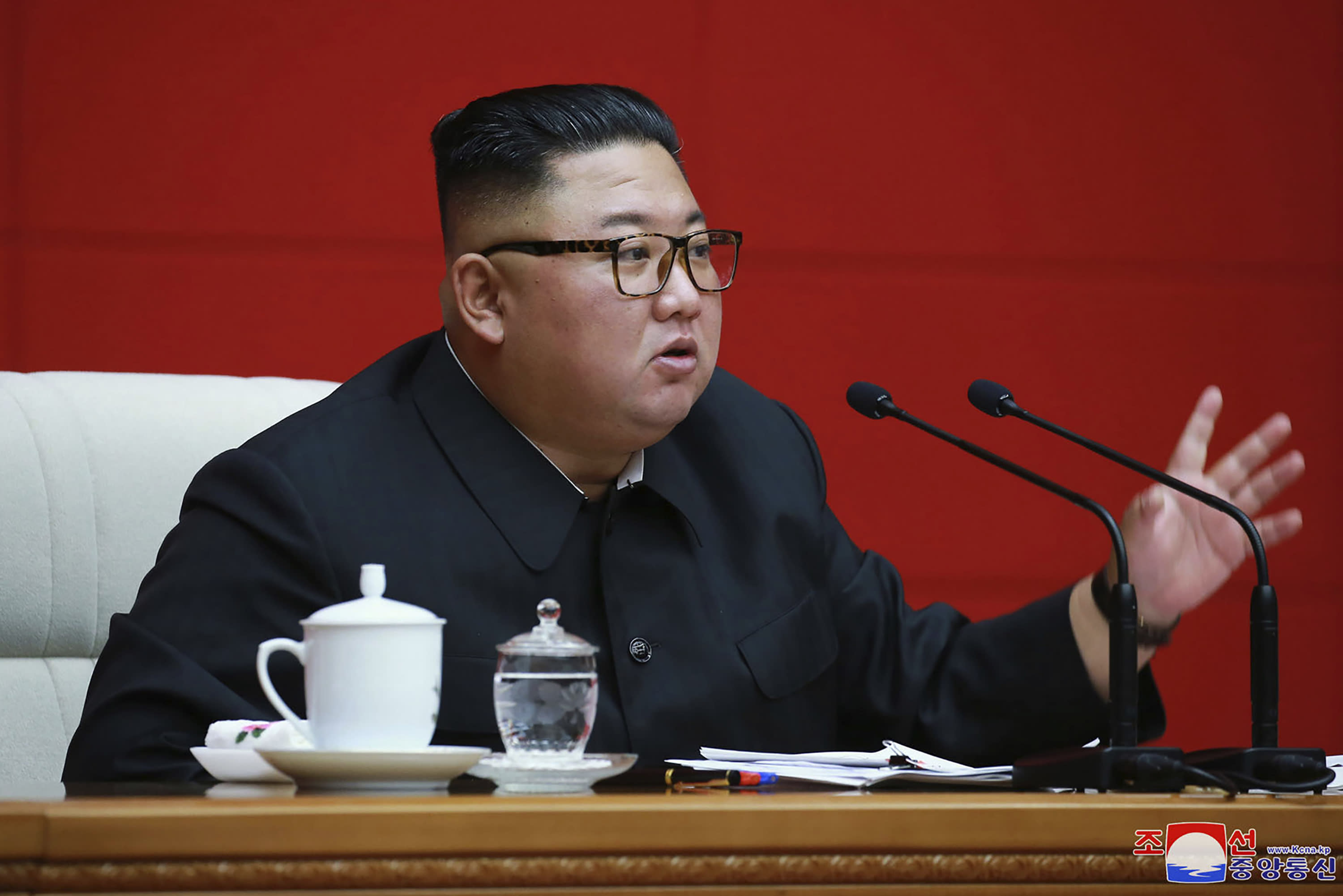 """In this photo provided by the North Korean government, North Korean leader Kim Jong Un attends a ruling party meeting in Pyongyang, North Korea, Thursday, Aug. 13 2020. Independent journalists were not given access to cover the event depicted in this image distributed by the North Korean government. The content of this image is as provided and cannot be independently verified. Korean language watermark on image as provided by source reads: """"KCNA"""" which is the abbreviation for Korean Central News Agency. (Korean Central News Agency/Korea News Service via AP)"""