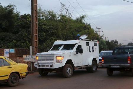 A UN armored vehicle patrols in Bamako