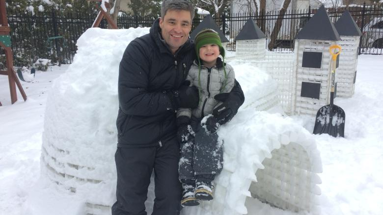 Montreal father makes backyard igloo that won't collapse
