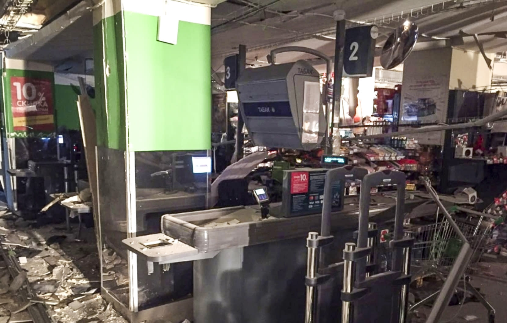 <p>This photo provided by the Information Center of the Russian National Antiterrorism Committee shows the damage inside a supermarket after an explosion, in St. Petersburg, Russia, Thursday, Dec. 28, 2017. (Photo: National Antiterrorism Committee via AP) </p>
