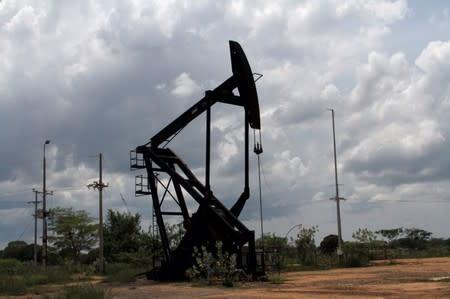 Oil pumpjack is seen in La Canada de Urdaneta