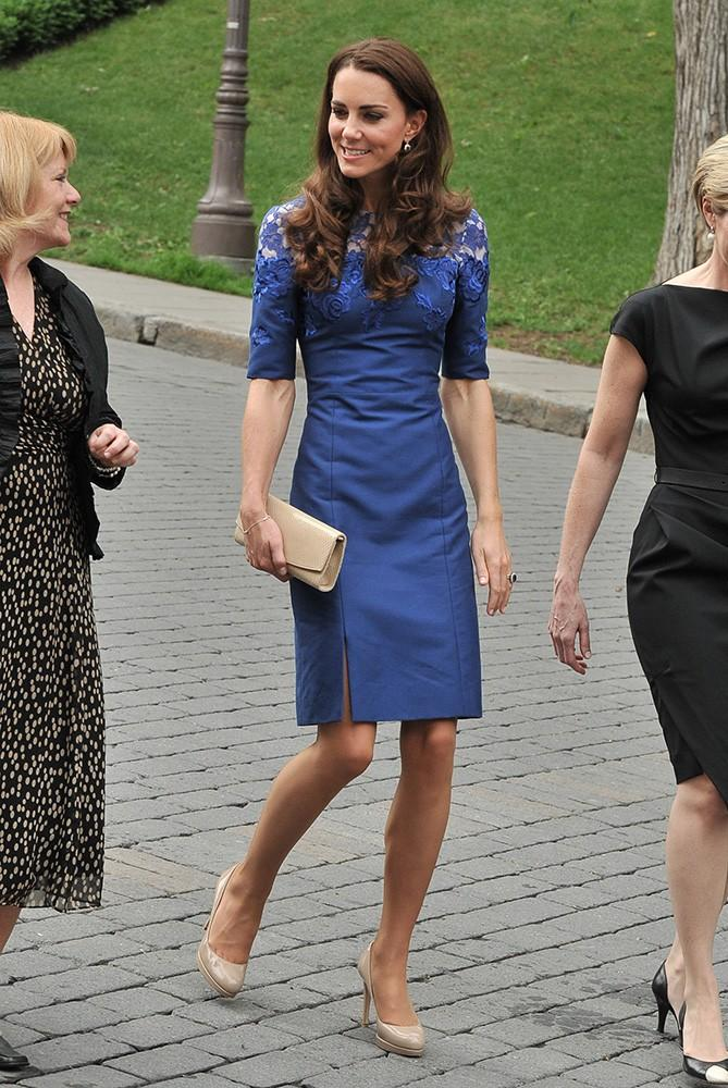 On day 4 of their Canada visit, Kate was seen in a brilliant blue Erdem dress with lace detailing on the bodice.
