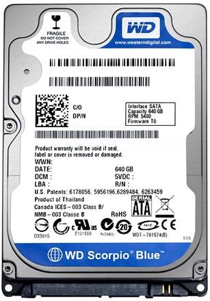 WD ships 2.5-inch 640GB standard 9.5mm-height laptop drive