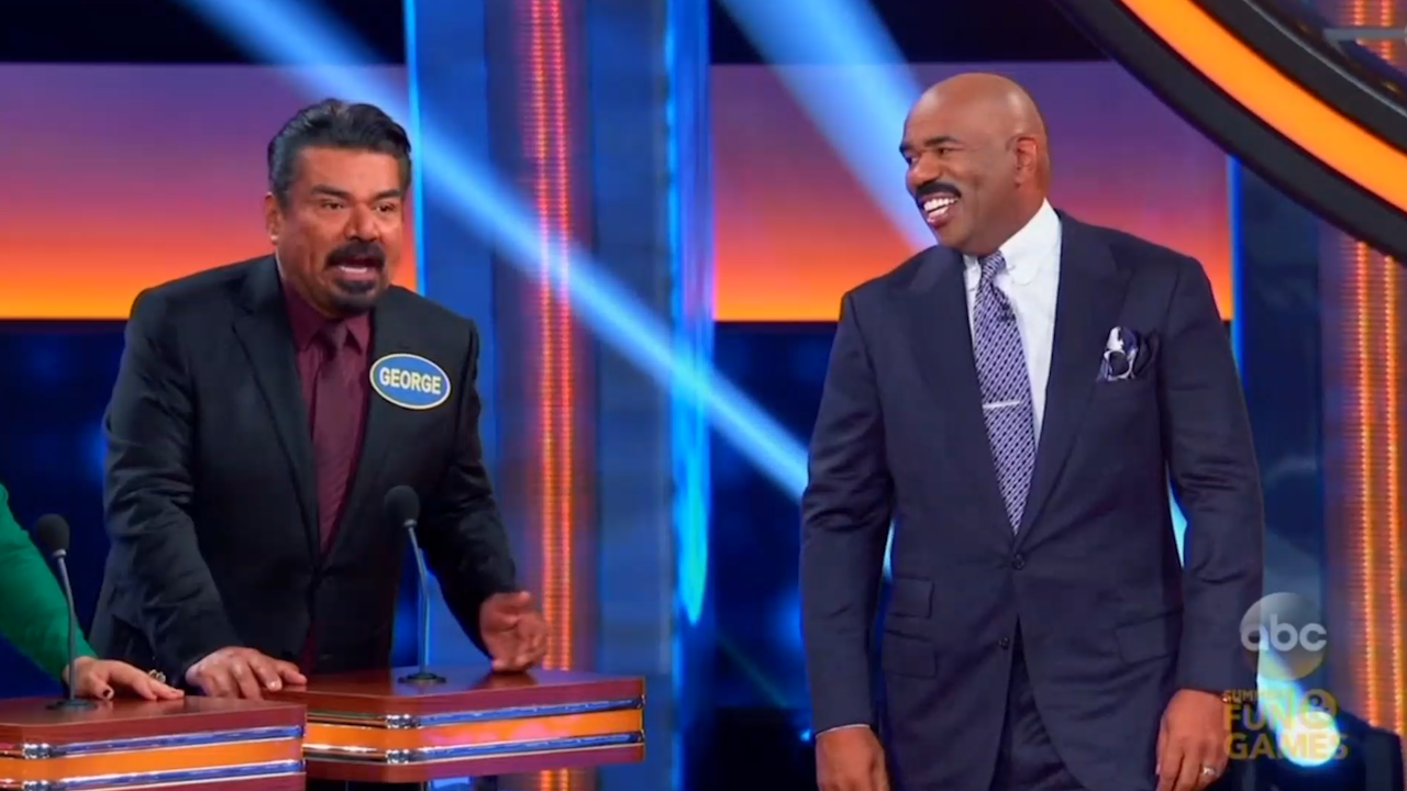 Is family feud filmed in georgia - George Lopez Schools Steve Harvey On Latino Culture During Celebrity Family Feud Video