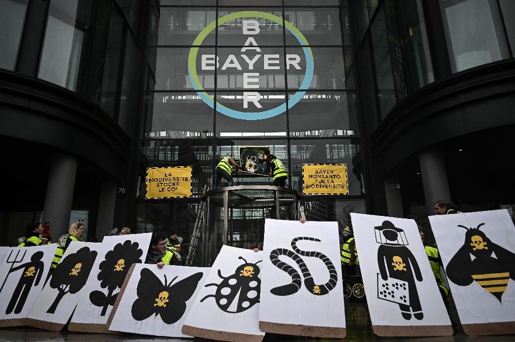 (FILES) In this file photo taken on March 14, 2019, activists stage a flash protest organised by the international movement Attac at the offices of Bayer - which recently acquired Monsanto - in La Garenne Colombes near the financial district of La Defense on the outskirts of Paris.Germany's Bayer apologised on May 12, 2019 after revelations in France that its subsidiary Monsanto had a PR agency collate lists of politicians, scientists and journalists and their views on pesticides and GM crops