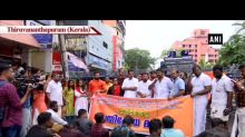 ABVP, BJYM protest against SFI over attack on student in Thiruvananthapuram