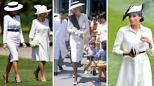 Melania Trump appears to take style cues from Meghan and Diana for lunch with the Queen