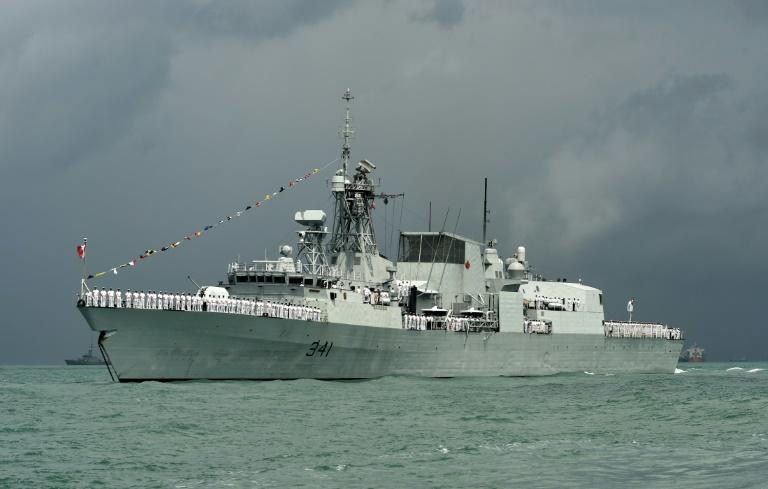 The HMCS Ottawa, pictured here in 2017, sailed through the Taiwan Strait, Canada's de facto embassy in Taipei said