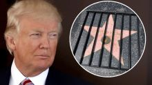 Street artist places Donald Trump's Hollywood Walk of Fame star behind bars