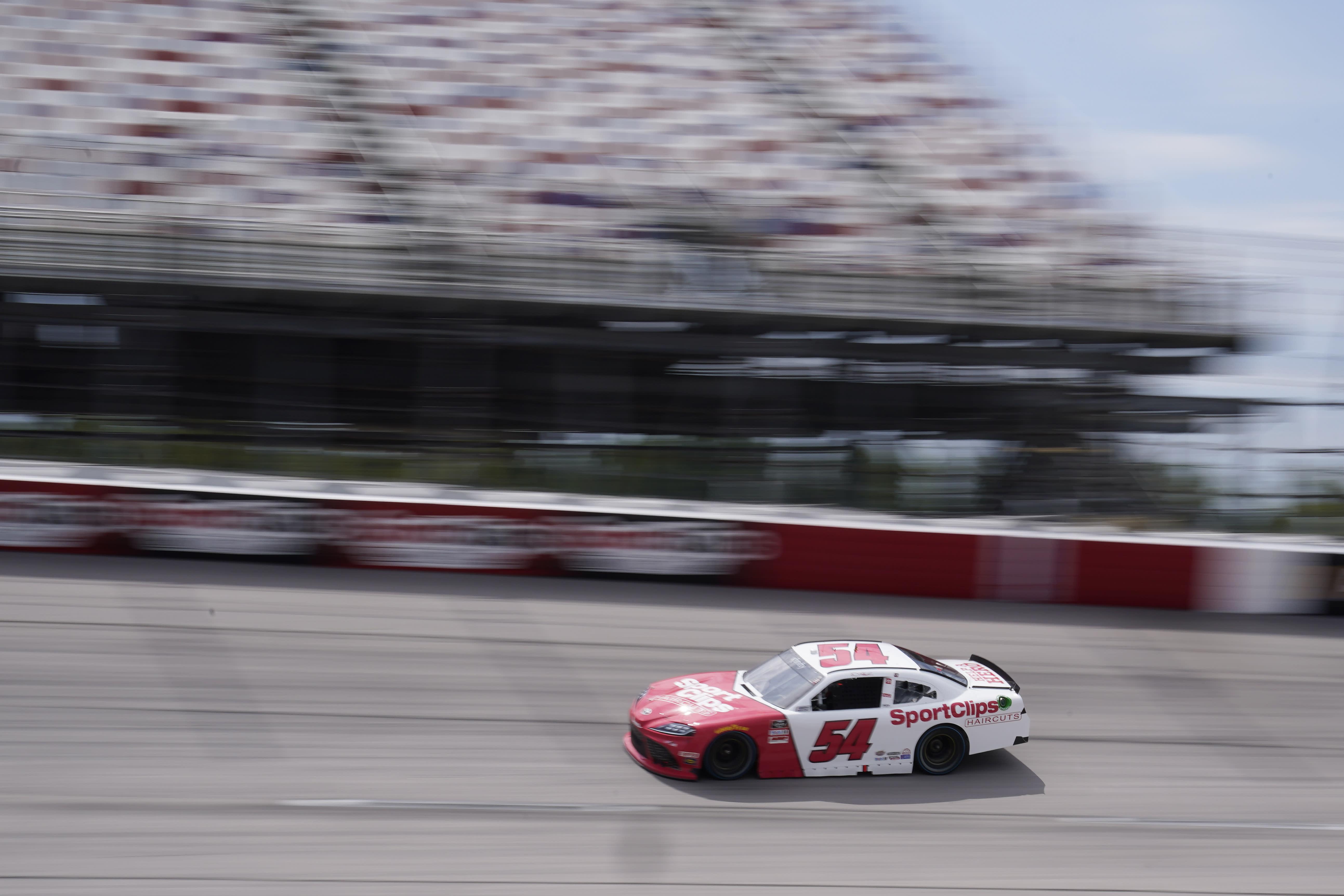 Joe Gibbs (54) moves through Turn 4 during a NASCAR Xfinity Series auto race Saturday, Sept. 5, 2020, in Darlington, S.C. (AP Photo/Chris Carlson)