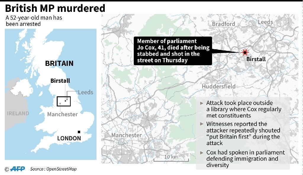 Map of the region where a British MP was killed in a stabbing and shooting attack. (AFP Photo/John Saeki)