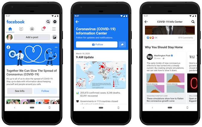 Facebook adds coronavirus 'information center' to News Feed