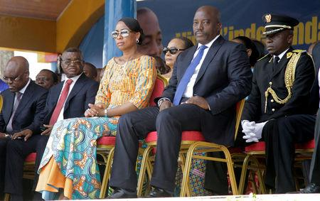 Democratic Republic of the Congo's President Joseph Kabila and First Lady Marie Olive Lembe attend the anniversary celebrations of Congo's independence from Belgium in Kindu, the capital of Maniema province in the Democratic Republic of Congo, June 30, 2016. REUTERS/Kenny Katombe/File Photo