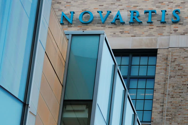 A sign marks Novartis' Institutes for Biomedical Research in Cambridge