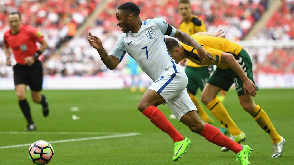 Back injury scare for Manchester City's Sterling in England win