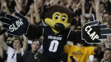 Colorado mascot shoots himself with T-shirt gun