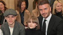 Budding style sensation Harper Beckham wears Uniqlo dress and Birkenstocks for lockdown drawing session