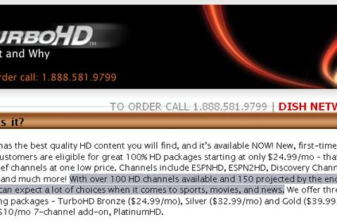 DISH Network pulls up 30 stations short of 150 HD channels goal