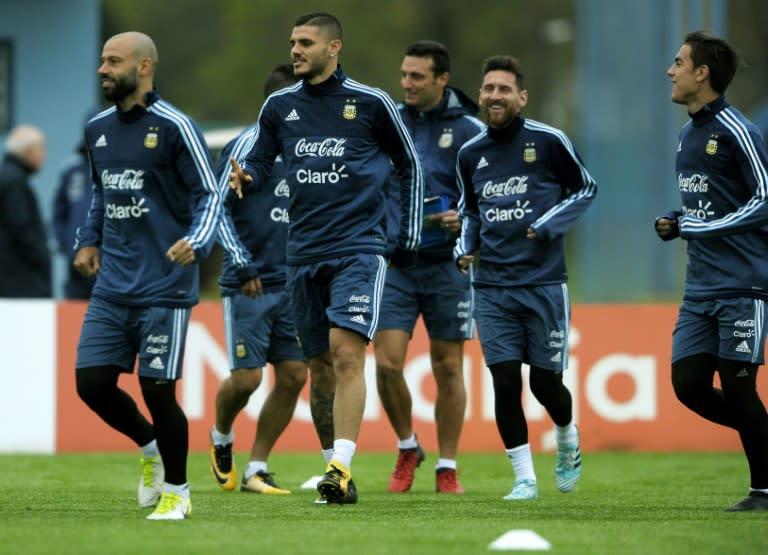10031a9c97 Jogadores da seleção argentina treinam em 3 de setembro de 2017 em Ezeiza