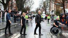 Harry and Jon Bon Jovi recreate Beatles album cover in Abbey Road visit