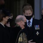 Harry, William and Kate leave Prince Philip's funeral side by side after paying their respects