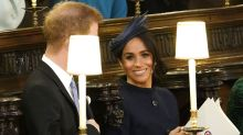 Meghan Markle wears navy Givenchy to Princess Eugenie's royal wedding
