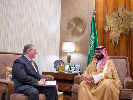 Saudi Crown Prince Mohammed bin Salmanin meets with a member of the delegation of American Evangelical Christian Leaders in Riyadh, Saudi Arabia November 1, 2018. Bandar Algaloud/Courtesy of Saudi Royal Court/Handout via REUTERS