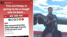 'The most American thing ever': Video of Calgary man rescuing baby bald eagle from lake goes viral