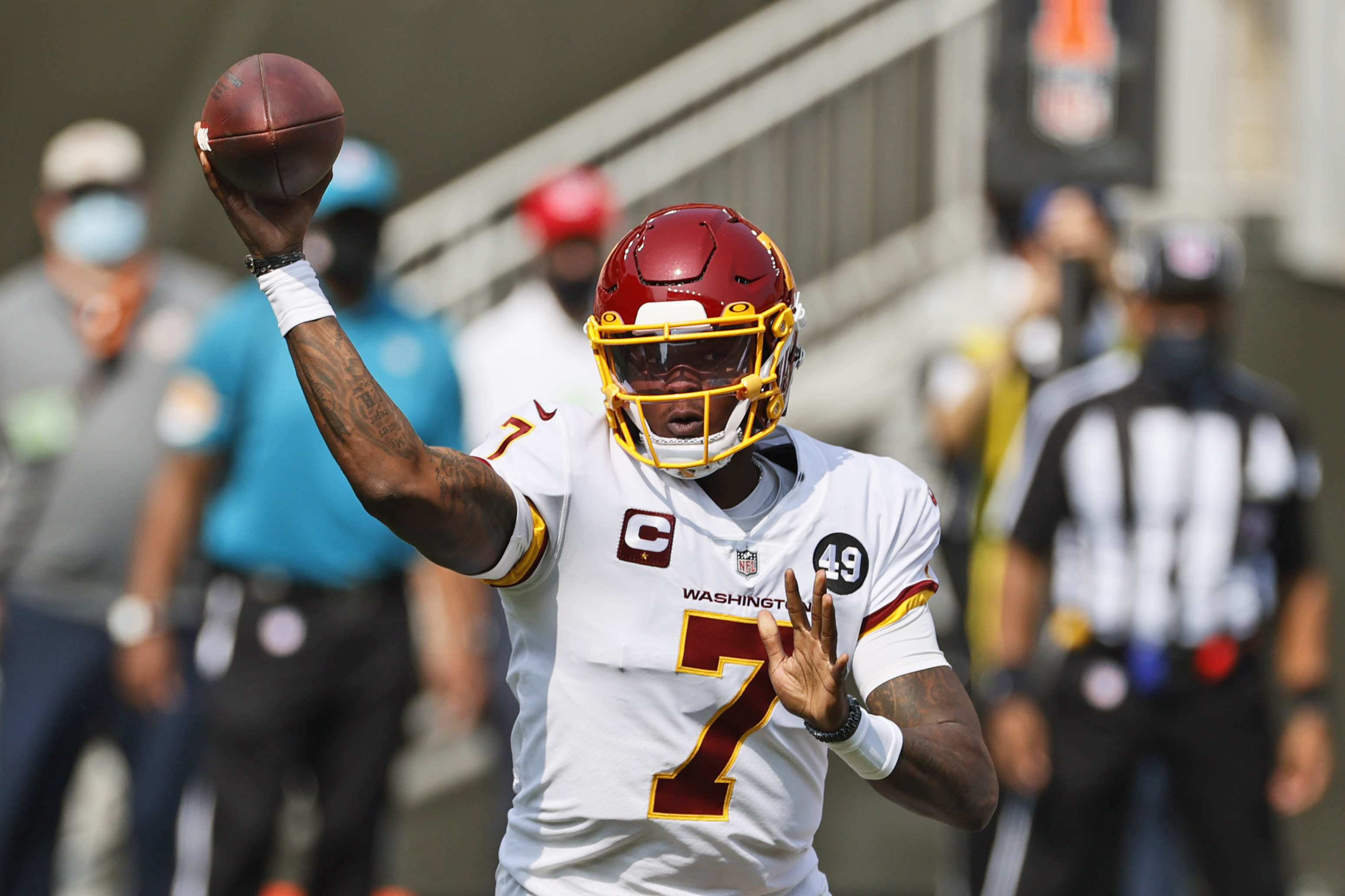 Washington Football Team quarterback Dwayne Haskins throws during the first half of an NFL football game against the Cleveland Browns, Sunday, Sept. 27, 2020, in Cleveland. (AP Photo/Ron Schwane)