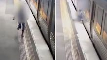 CCTV of commuters risking their lives to avoid missing the train