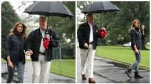 Donald Trump leaves Melania in the rain without umbrella