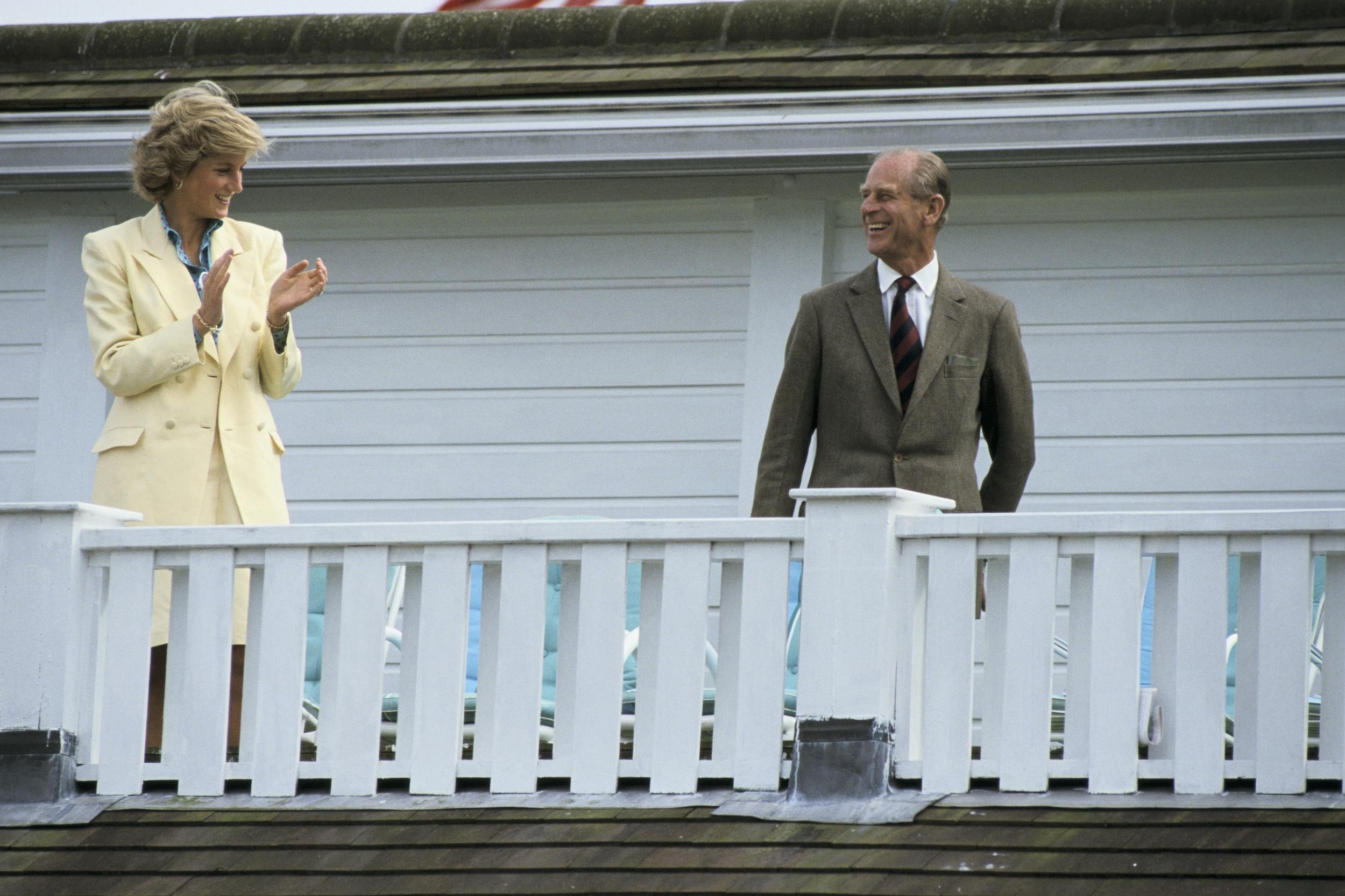 Princess Diana and Prince Philip at a polo match in Windsor on July 26th , 1987.