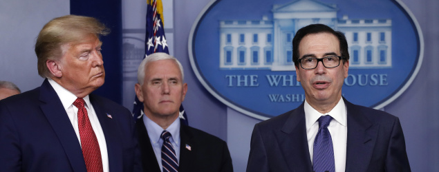 Treasury Secretary Steven Mnuchin speaks as President Trump and Vice President Pence listen. (AP)