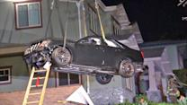 Car takes a wrong turn, lands on roof
