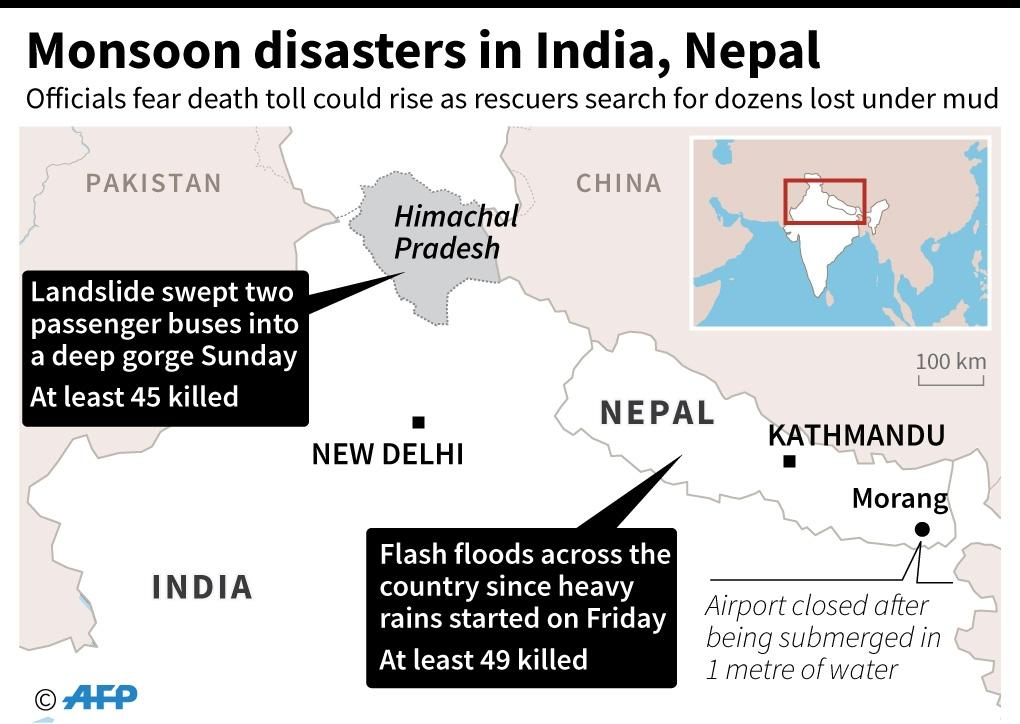 Map of Nepal and northern India, where monsoon floods and landslides have killed at least 94 people. (AFP Photo/-)