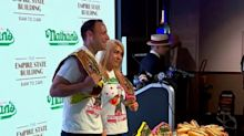 Weigh-in for annual NYC hot dog eating contest
