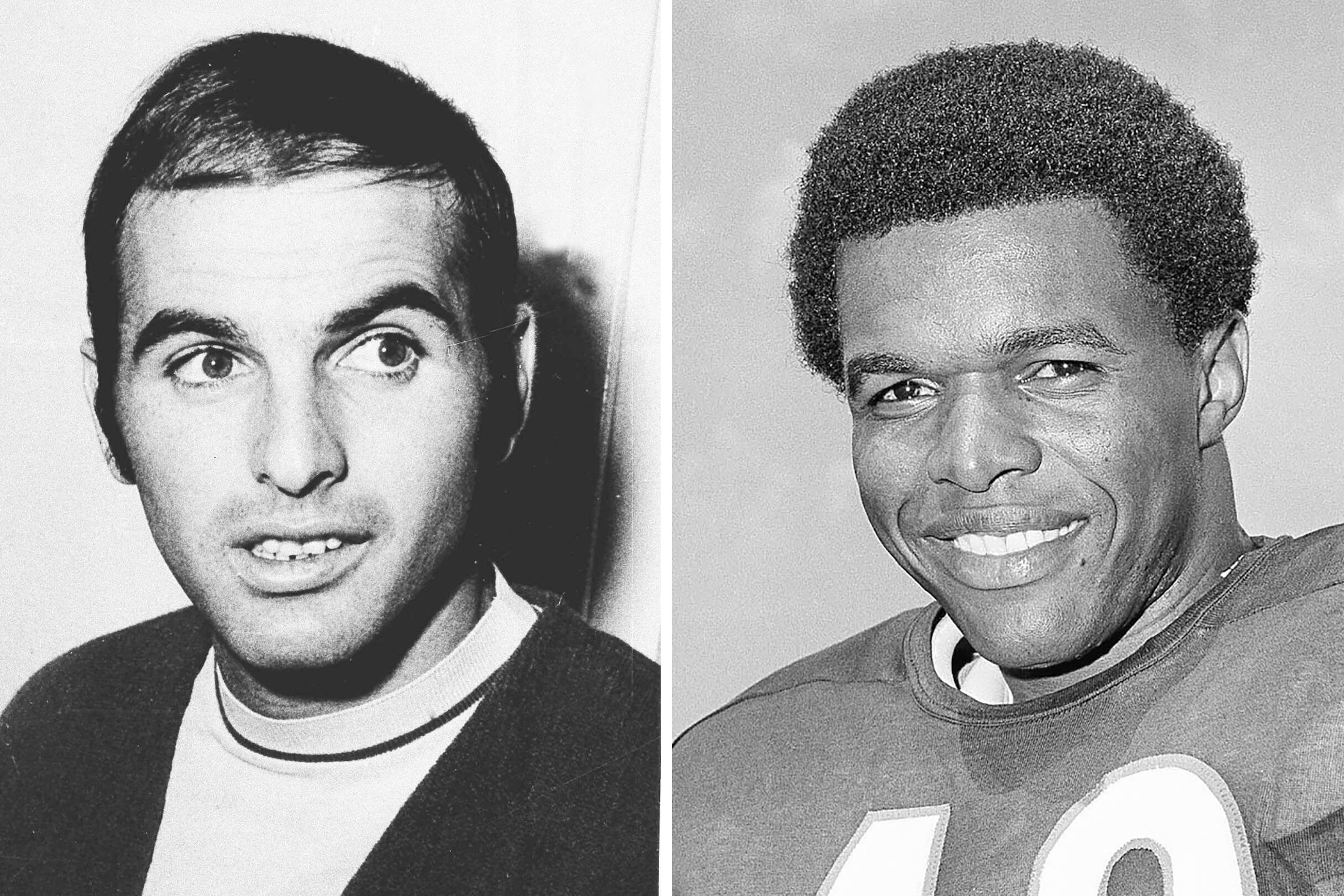 """FILE - From left are 1970 file photos showing Brian Piccolo and Gale Sayers. Hall of Famer Gale Sayers, who made his mark as one of the NFL's best all-purpose running backs and was later celebrated for his enduring friendship with Chicago Bears teammate Brian Piccolo, has died. He was 77. Nicknamed """"The Kansas Comet"""" and considered among the best open-field runners the game has ever seen, Sayers died Wednesday, Sept. 23, 2020, according to the Pro Football Hall of Fame. (AP Photo/File)"""