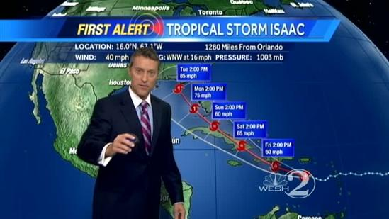 Tracking Tropical Storm Isaac - 5 p.m. Thursday