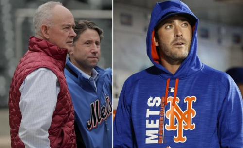 New York Mets general manager Sandy Alderson (left) and pitcher Matt Harvey (right) are still not on great terms. (AP photos)