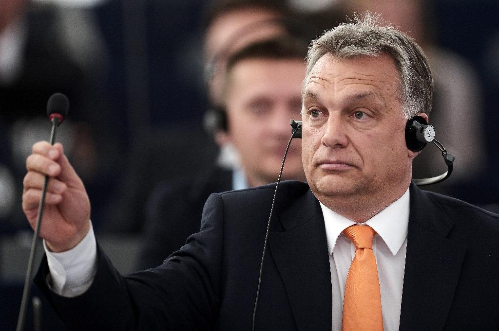 Hungary's Prime minister Viktor Orban says mass migration threatens European civilisation (AFP Photo/Frederick Florin)