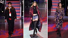 A family affair: Gigi, Bella and Anwar Hadid walk in Tommy Hilfiger's first London Fashion Week show