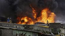 PHOTOS: Fire breaks out in busy market in Lagos, Nigeria