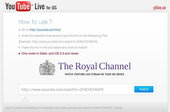 YTLive web app lets you watch YouTube Live broadcasts on your iOS device